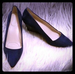 Calvin Klein blue wedged heel